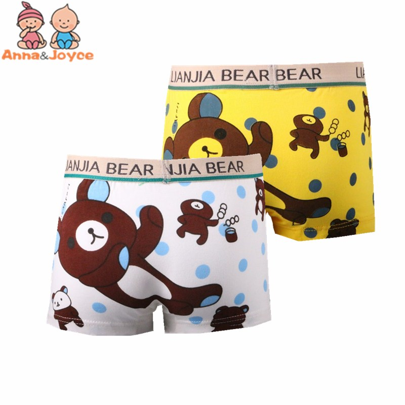 2pcs/ Lot Cotton Underwear For Boys Cartoon Cute Kids Boy Boxer Bear Children Underwear Tnm0027