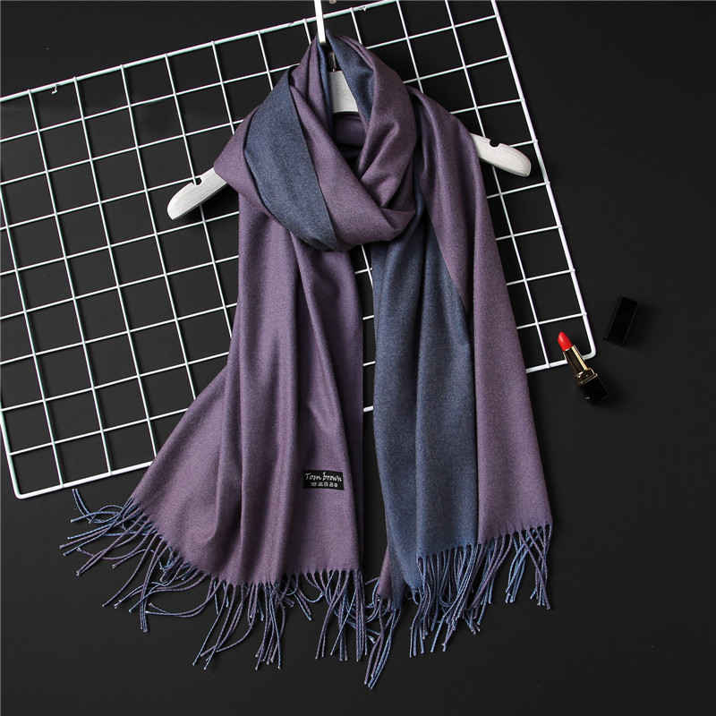 LaMaxPa Dropshipping Fashion Winter Cashmere   Scarf   Women Double Sides Pashmina Shawls and   Wraps   Female Warm Bandana Long Foulard