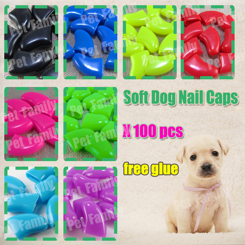 100pcslot  Dog  Nail Caps soft dog Claw grooming  dog soft paws  with free adhensive  xs s m l xl xxl