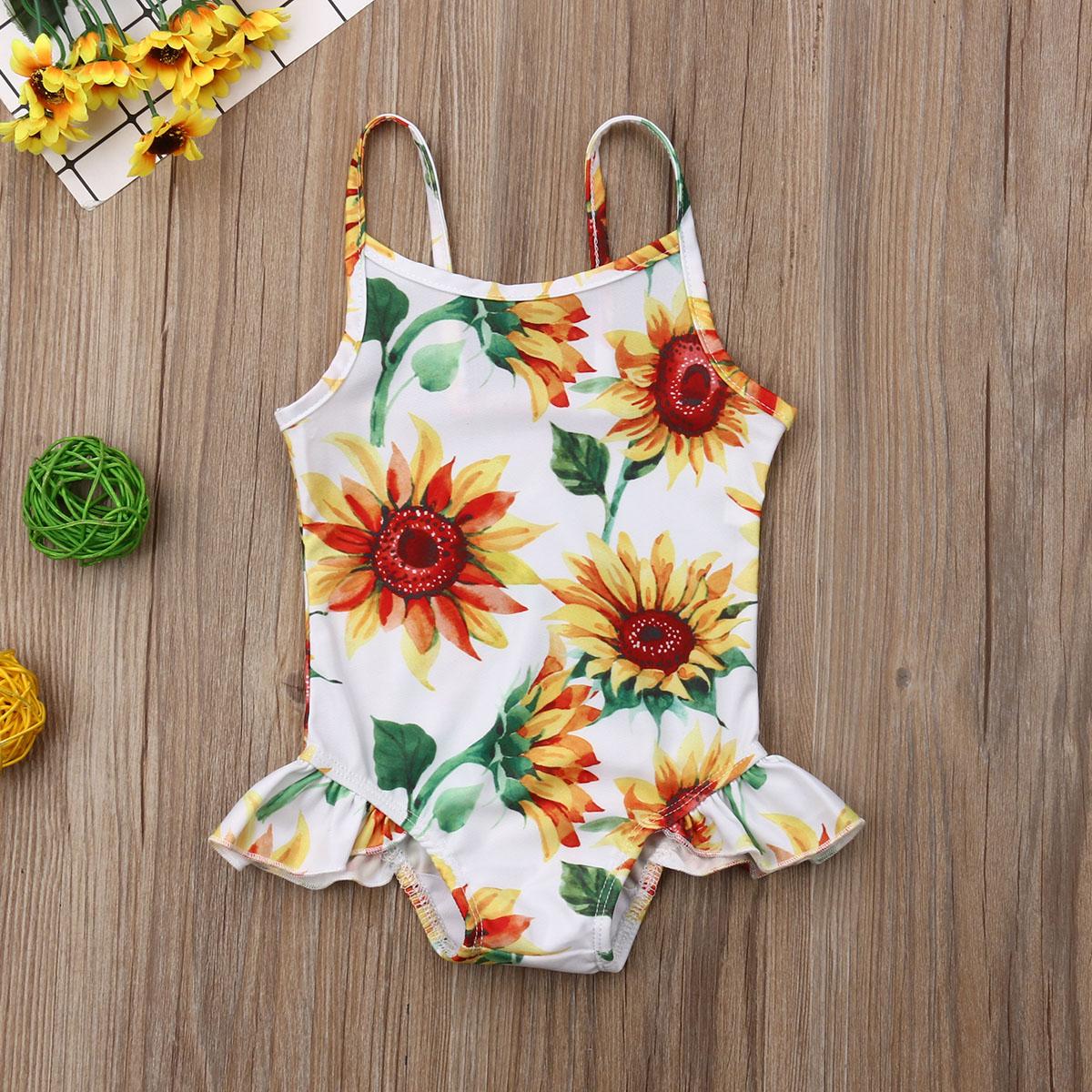 Emmababy Swimwear Infant Baby Girls Flower Swimwear Sleeveless Romper Sling Bathing Girl Kids Baby Beach Clothes