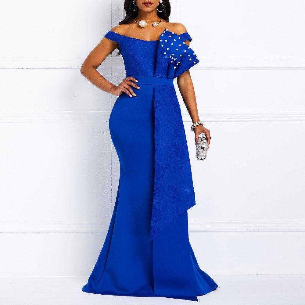 Women Maxi Dress Elegant 2019 Summer Off Shoulder Sexy Mermaid Slash Beads Robe Prom Evening Party Club Female Long Blue Dresses