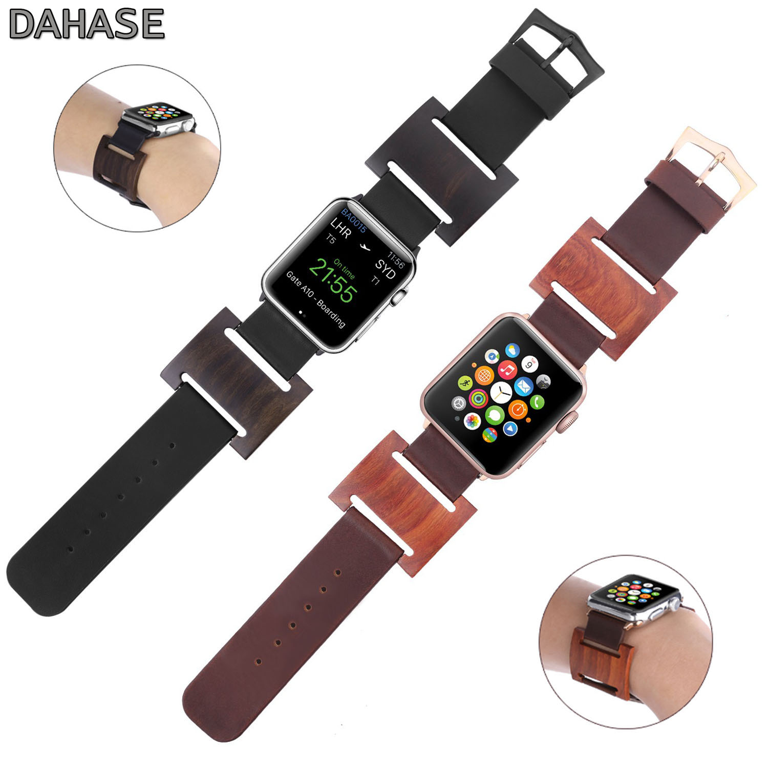 dahase dual colors sport silicone strap for apple watch band series 1 2 3 protect cover for apple watch case 42mm 38mm bracelet DAHASE Real Natural Wood Genuine Leather Bracelet for Apple Watch Series 1 2 3 Strap Watch Band for iWatch Wristband 42mm 38mm