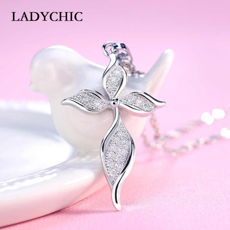 LadyChic Thời Trang Màu Bạc Nữ Mặt Dây Chuyền Vòng Cổ Bèo Hình Lá Dây Chuyền Pha Lê Dành Cho Nữ Trang Sức Dự Tiệc Bán Buôn LN1011