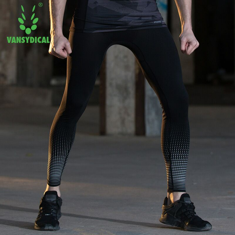 ab419a76ad1a35 Vansydical Men's Printed Compression Pants Fitness Running Tights Quick Dry  Basketball Workout Jogging Gym Sports Leggings -in Running Tights from  Sports ...