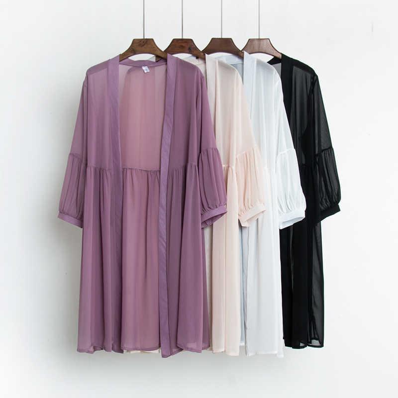 Кимоно Кардиган женский летний Женская рубашка с длинным рукавом блуза