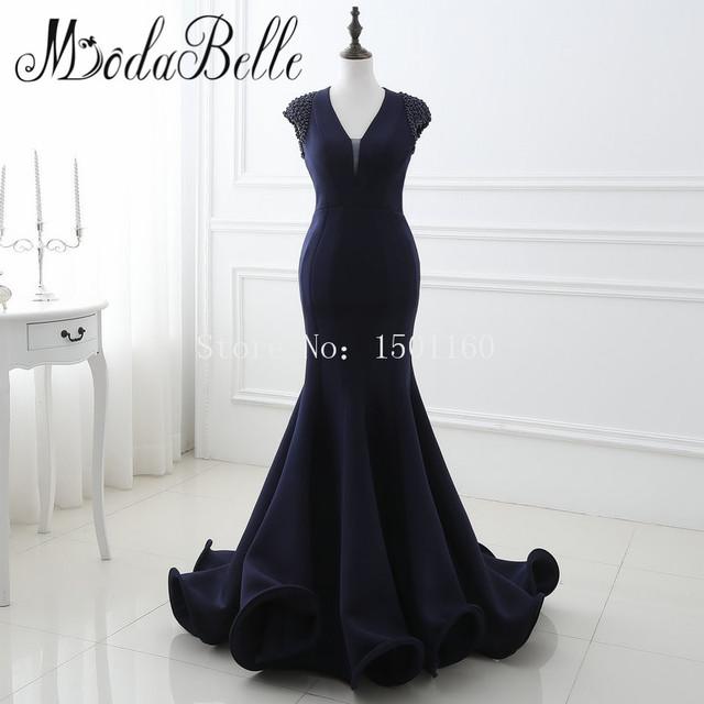 Azul marinho Longos Vestidos de Noite Robe De Soirée Longue Pérolas Backless Árabe vestidos de Noite Vestidos Sereia Arábia Saudita Em Estoque