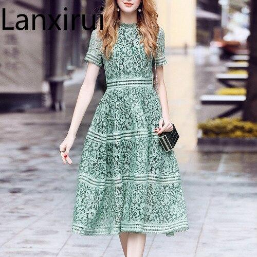 Dress  Summer Women High Quality Elegant Slim Hollow Out A-line Lace Midi Dress Pink/Green Dress Self Portrait Dress