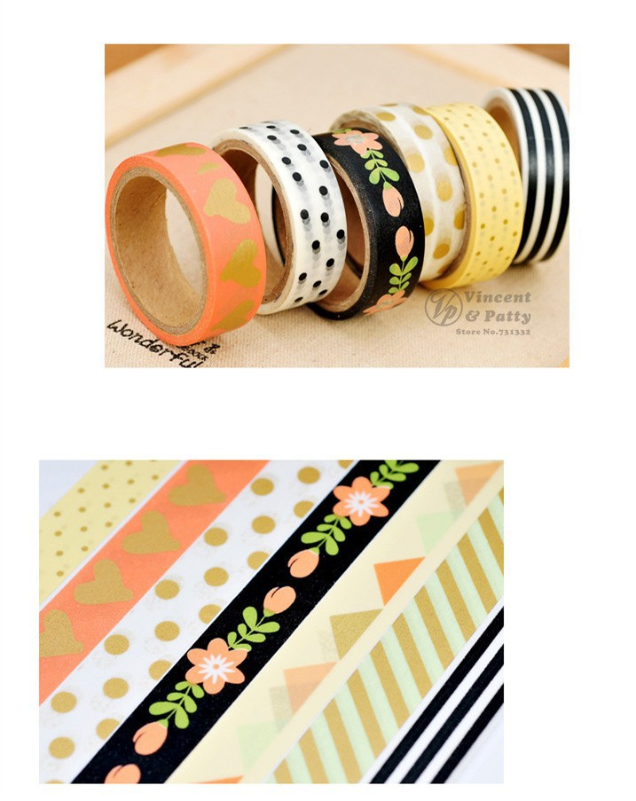 Decorative Sticky Tape Roll Masking Adhesive Planner Kawaii Flowers Washi Deco