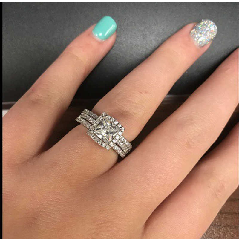 Which Hand Wedding Ring Female.Utimtree Luxury Silver 925 Zircon Wedding Rings For Women Engagement Ring Female Fashion Stone Jewelry Square Crystal Ring Sets