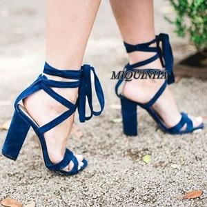 ФОТО fashion design geige blue nubuck leather women shoes open toe cover heel chunky high heel sandals ankle cross strappy footwear