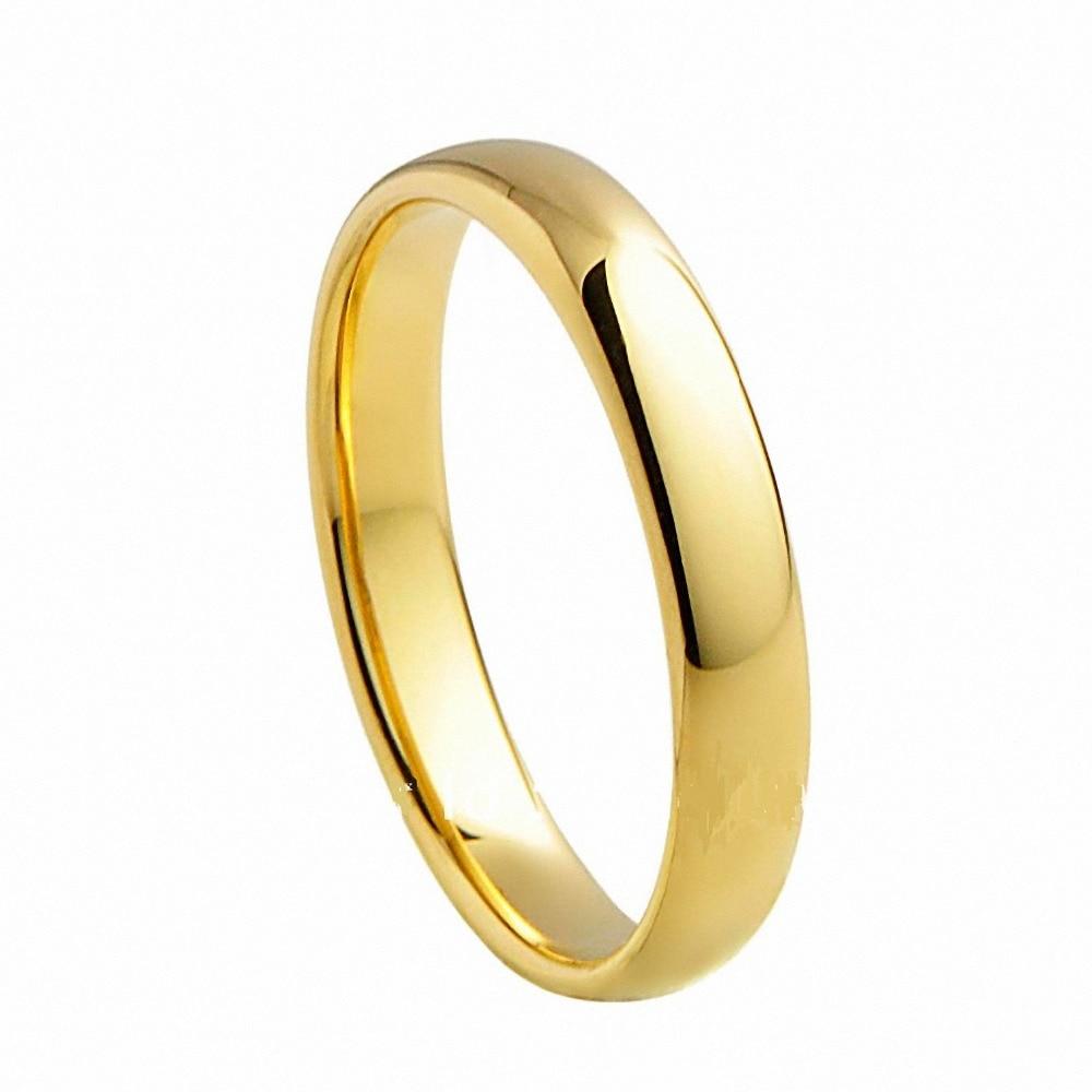 Yellow Gold Tungsten Carbide font b Rings b font Traditional Wedding font b Engagement b font