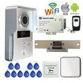Бесплатная Доставка Беспроводной WI-FI IP Дверь Камеры RFID Видео Домофон для Телефон Удаленный Разблокировать + Крытый Bell Strike Двери E-Lock