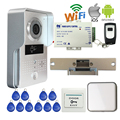 Free Shipping Wireless WIFI IP Doorbell Camera RFID Video Intercom for Phone Remote View Unlock + Indoor Bell Strike Door E-Lock