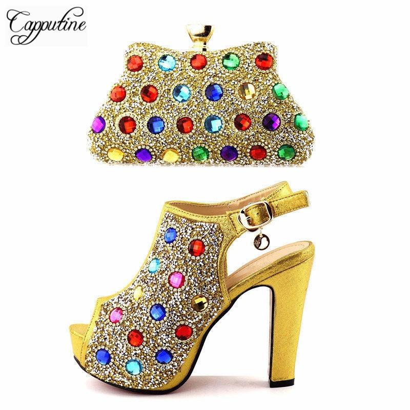 Capputine Gold Color Rhinestone font b Shoes b font And Bags Set 2018 Italian High Heels