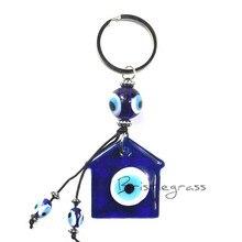 BRISTLEGRASS Turkish Blue Evil Eye House Keychain Car Key Chain Ring Holder Amulet Lucky Charm Pendants Blessing Protection Gift