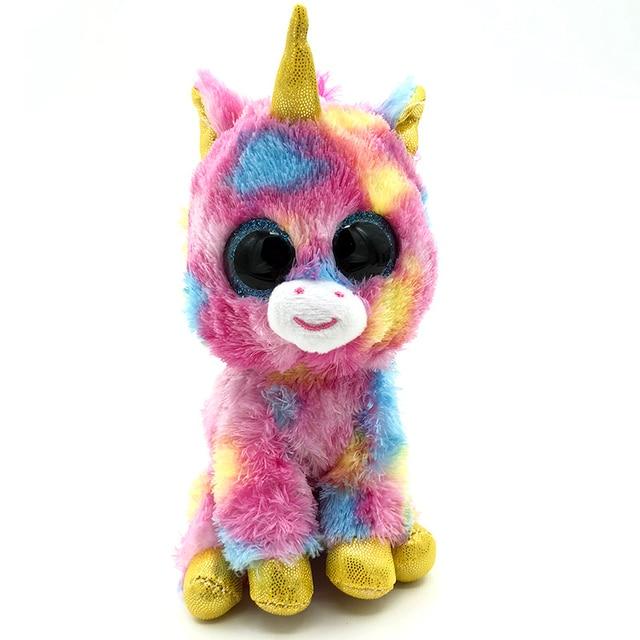 17cm Ty Beanie Boos Colorful Unicorn Kawaii Big eyes Lovely beanie boo Push  Toy Stuffed Doll Ty Toys For Girl Children Friends b8dd938c530