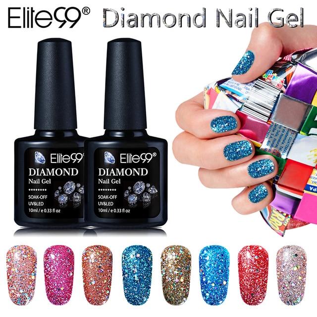 Elite99 New Arrival 10ml Diamond Glitter UV Gel Nail Soak Off UV LED ...