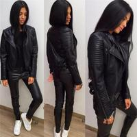 Ladies Leather Jackets 2018 New Black Slim Moto Bikers Jacket Women Long Sleeved Zipper Spring Autumn Outerwear Leather Coats