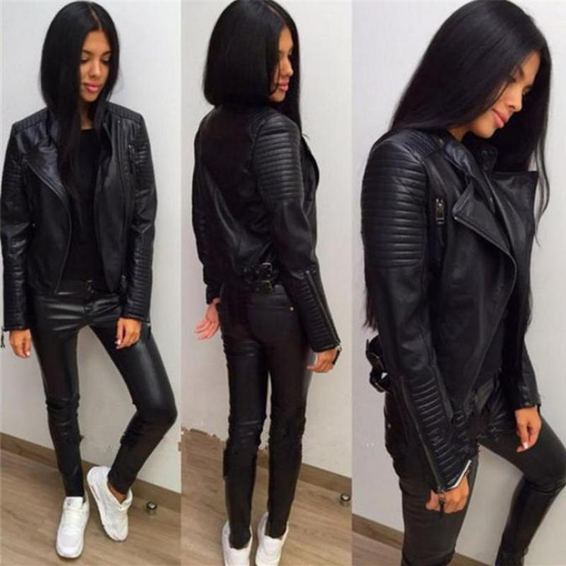 Ladies   Leather   Jackets 2018 New Black Slim Moto Bikers Jacket Women Long Sleeved Zipper Spring Autumn Outerwear   Leather   Coats