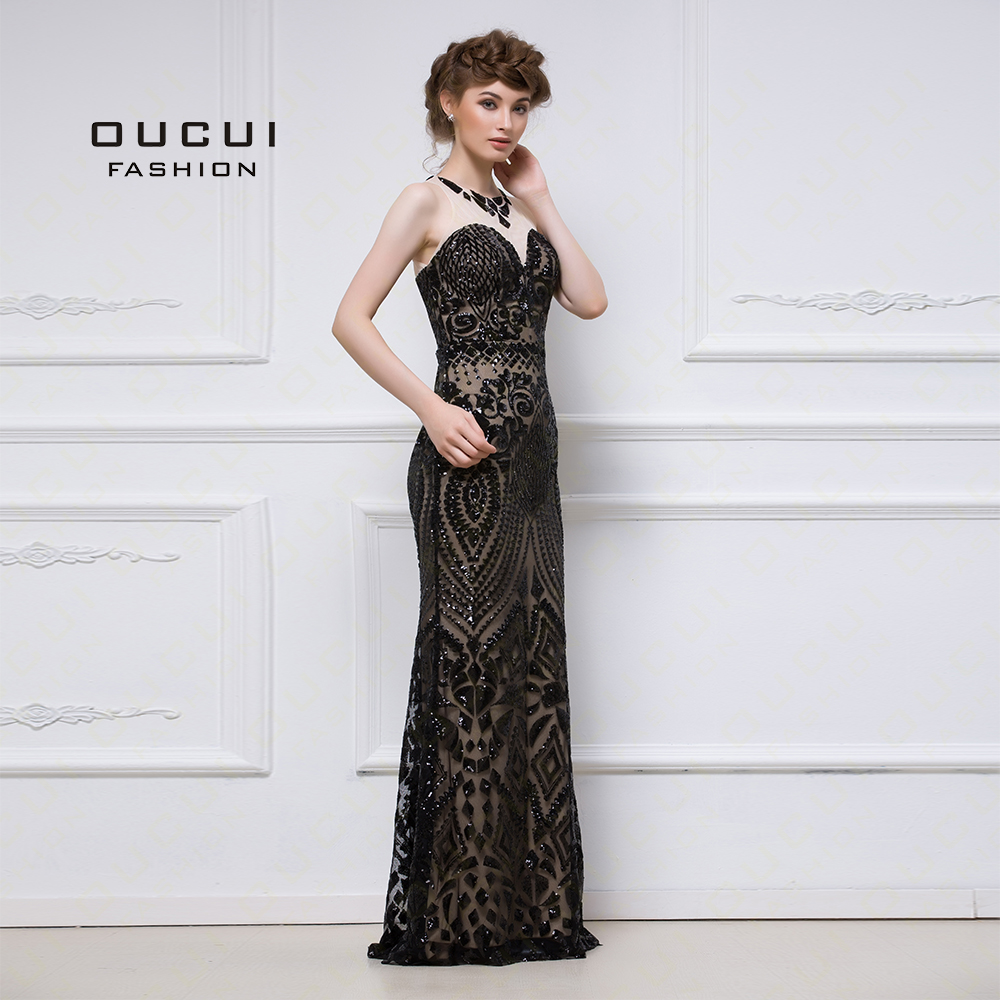 Real photos Black Color High End Product Long Formal   Evening     Dress   Scoop Straight OL103036