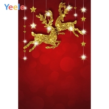 Yeele Gold Glittering Deer Star Red Curtain Party Decoration Christmas Backgrounds Photography Backdrops For The Photo Studio