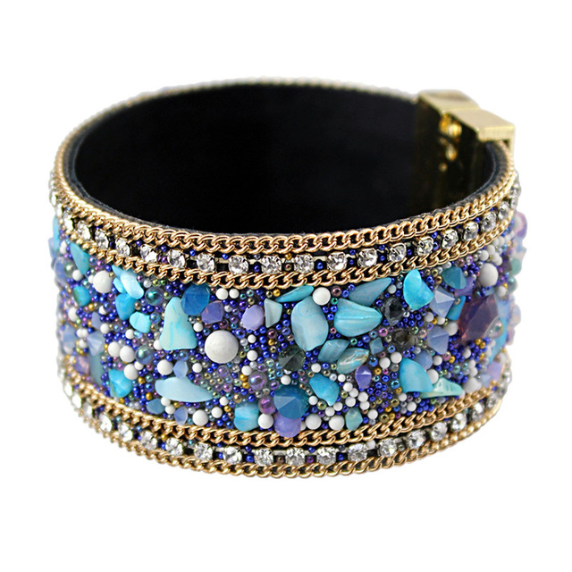 VINNOR New Fashion Jewelry Woman Bangle Bracelet,Magnetic clasp High-grade Leather Crystal Stones Accessories