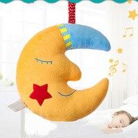 Good Night Moon Shaped Music Plush Toy Cute Cartoon Sleep Toy Stroller Mobile Gifts Kids Baby
