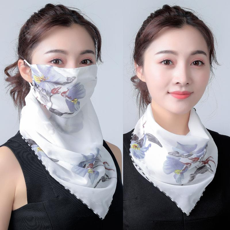 2020 Hot Sell Mouth Mask Lightweight Face Mask Scarf Sun Protection Mask Outdoor Riding Masks Protective Silk Scarf Handkerchief