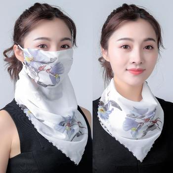 2020 Hot sprzedam usta maska lekka maska szalik słońce maska ochronna jazda na zewnątrz maski ochronne jedwabny szalik chusteczka tanie i dobre opinie XIERMEND WOMEN Dla dorosłych Szyfonowa CN (pochodzenie) Scarf Drukuj Moda 60 cm Szaliki A3421