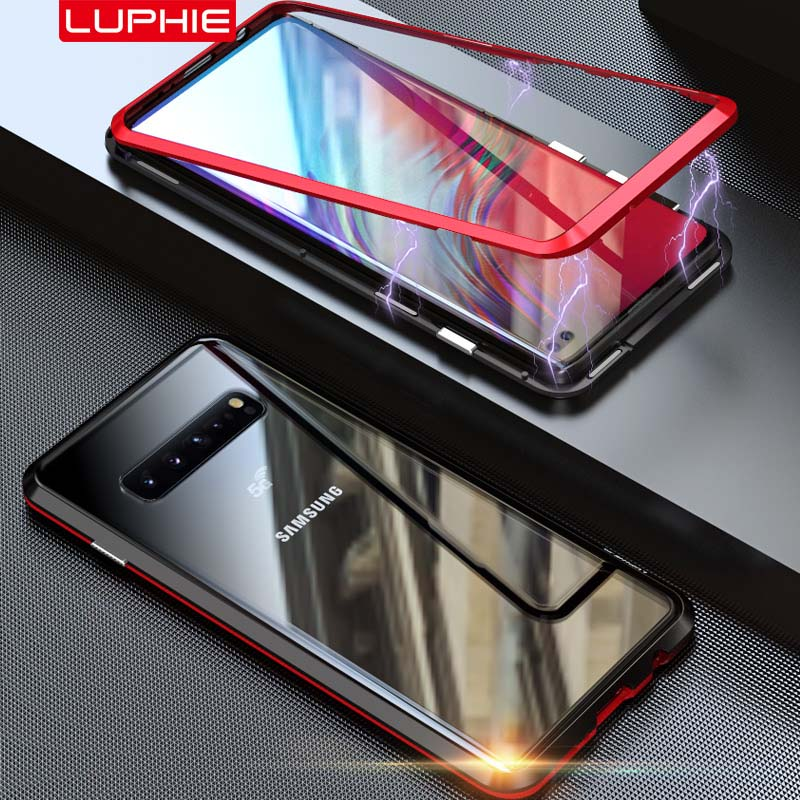 LUPHIE Magnetic Case Aluminum Metal Glass Transparent Phone Case Coque Adsorption Case For Samsung Galaxy S10 5G 5.8 inch KS0145