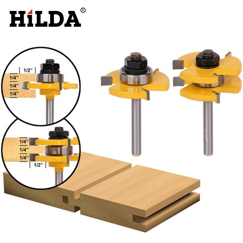 "HILDA 1Set Tongue & Groove Router <font><b>Bit</b></font> Set 3/4\"" Stock 1/4\"" Shank 3 Teeth T-shape Wood Milling Cutter Flooring Wood Working Tools"