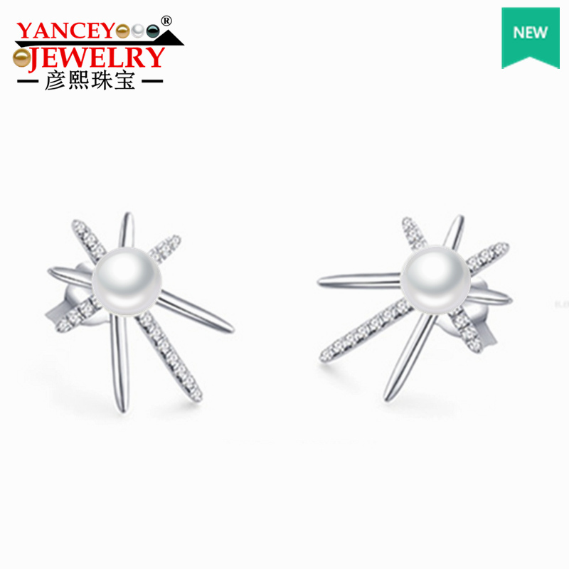 YANCEY эксклюзивный дизайн: сильный блеск белый безупречный пресноводный жемчуг серьги гвоздики, новые популярные элементы тонкой S925 серебро