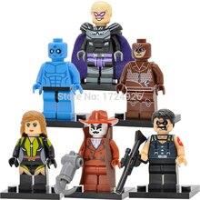 6 pçs/lote DC Watchmen Figura Super Hero O Dr. Manhattan Espectro De Seda Conjunto Modelo de Blocos de Construção de Brinquedos Para Crianças