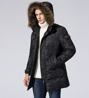 new 2018 winter man duck down coat with genuine raccoon fur hood male warm parka jacket black red camouflage clothing 3xl 4xl