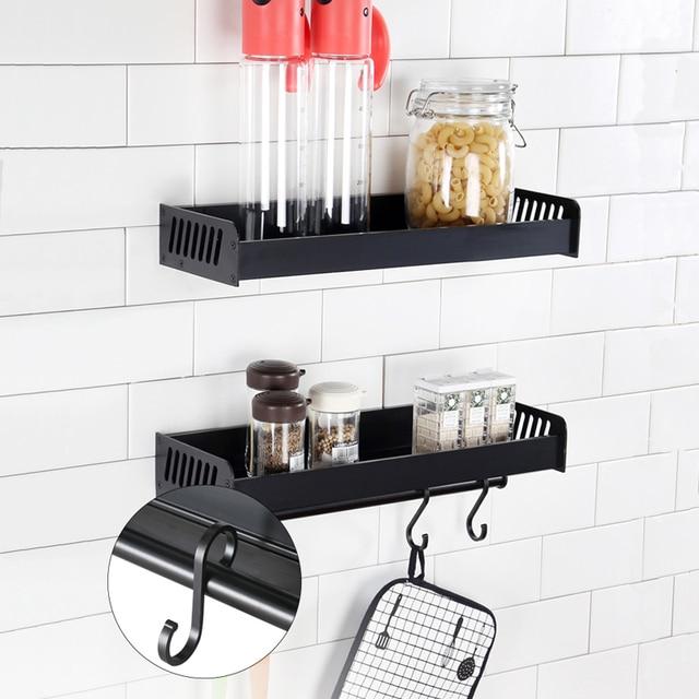 Suporte De Armazenamento De Cozinha Rack de alumínio Prateleira Do Banheiro Fixado Na Parede Titulares Spice Racks Organizador Cesta Accessoriess