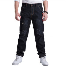 Hot!2015 New Arrival autumn fashion Men's Jeans Black Washed Denim pants Frayed Straight  jeans Plus Size 30-46