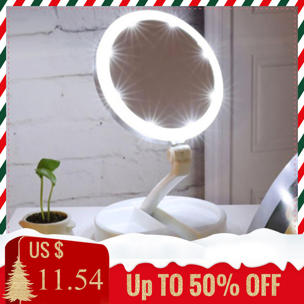 LED Makeup Mirror 10X Magnifying Mirror Adjustable Stand Desk Tri fold Cosmetic Mirror with Storage Box