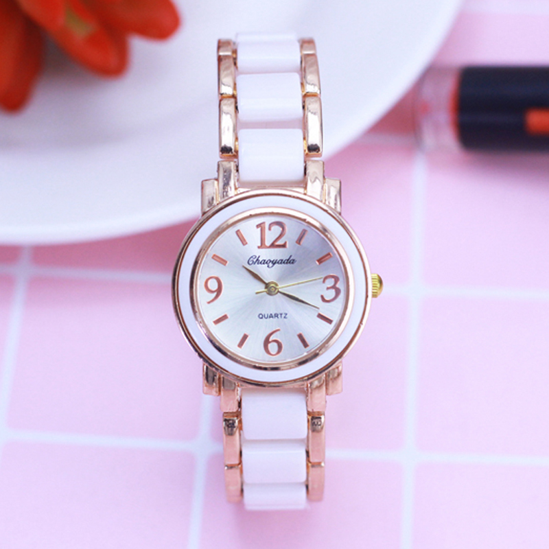 CHAOYADA Women Watches Fashion Casual White Imitation Ceramics Watchband Hot Selling Rose Gold Round Dial Ladies Watch