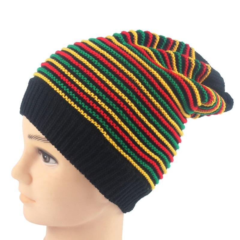 Inverno Hip Hop Bob Giamaicana Berretto Rasta Reggae Cappello Multi color  Striped Beanie Cappelli per le Donne Degli Uomini di nuovo stile Maschile  Berretti ... 25bc1fbee037