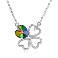 INALIS 2018 New Crystals from Swarovski 925 Sterling Silver Four Leaf Love Pendant Necklace Women Necklaces Fine Jewelry