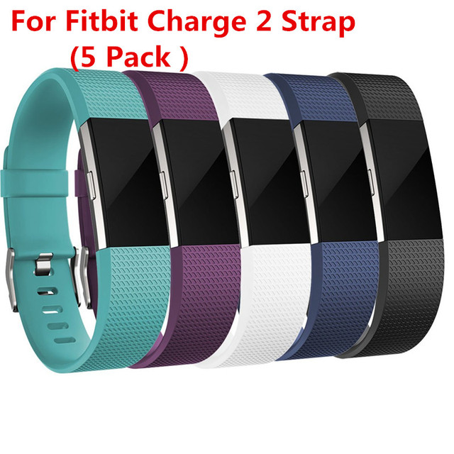 5 Pack Replacement Silicone Rubber Band Strap Wristband Bracelet For Fitbit Charge 2 Small