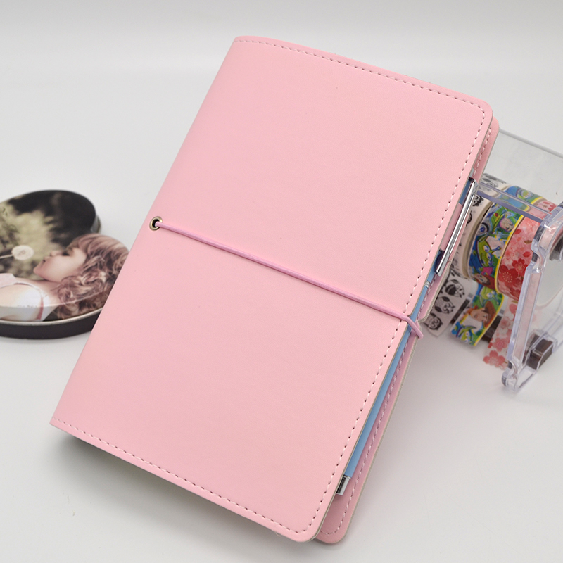 A6 Dalily Notebook Cute Solid  Loose-leaf Notebook Portable Travel Journal Hand Writing Book Diary Bandage DIY Universal Books