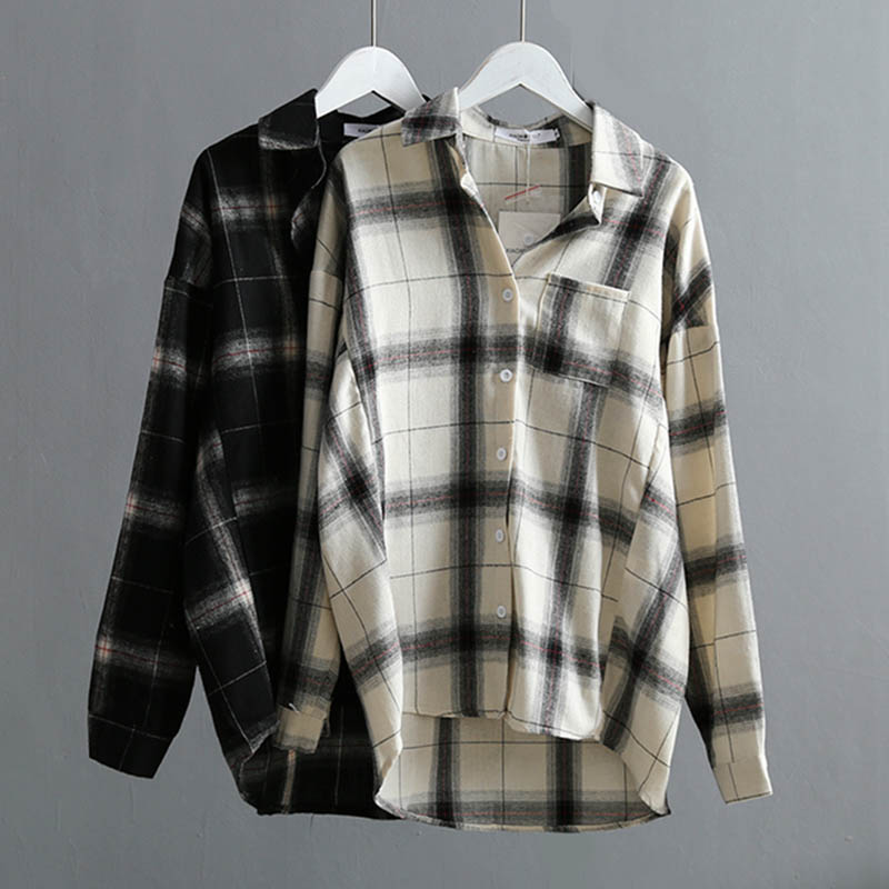 Fall Winter Cotton Plaid Women Blouse Shirt 2019 High Quality Casual Office Womans Shirts Large Size Plaids Tops White/Black