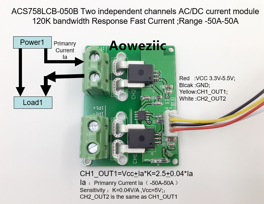 Aoweziic ACS758LCB-050B ACS758LCB-050 ACS758 Two independent channels AC/ DC current detection module Rang:-50A-50A 1pcs current detection sensor module 50a ac short circuit protection dc5v relay page 6