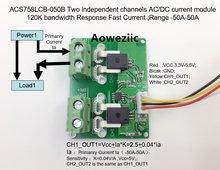 Aoweziic ACS758LCB-050B ACS758LCB-050 ACS758 Two independent channels AC/ DC current detection module Rang:-50A-50A