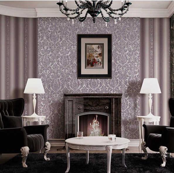 3d Papel de parede vintage purple wall glitter wallpaper rolls for living  room European wallcoverings bedroom stripe wall paper