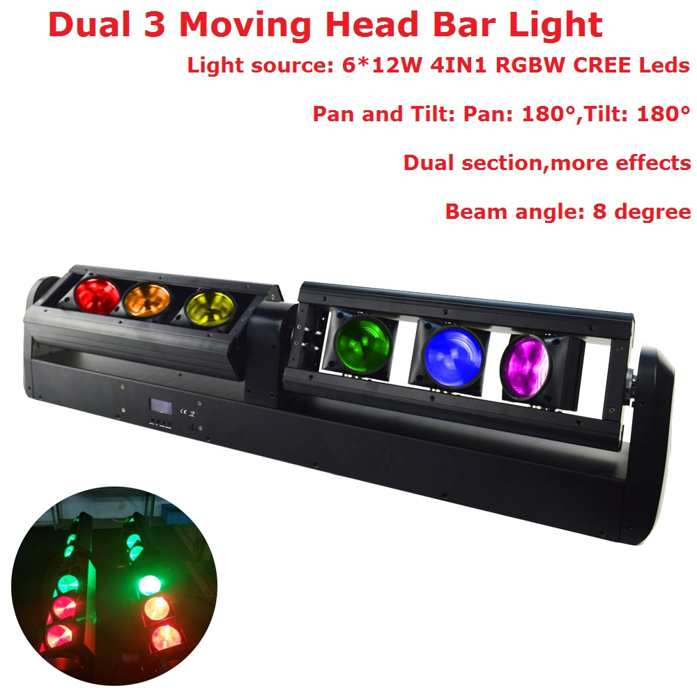 Newest 90W LED Moving Head Strip Bar Light Hi-Quality 6X12W RGBW 4IN1 CREE Leds Beam Moving Head Lights 90-240V 8 Degree Beam 4pcs lot 90w led modules 6500k 8000 lumens ssd 90 cbt 90 sst 90 for 90w led moving head