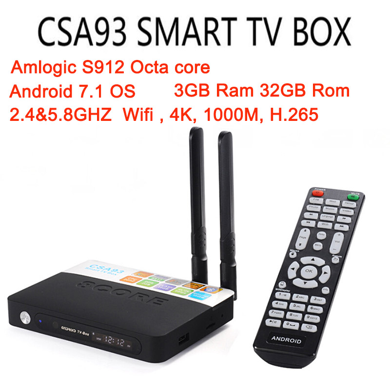 CSA93 Android 7.1 Smart TV Box Amlogic S912 Octa Core 3G+32G/2G+16G KODI 17.3 1000M LAN Dual WiFi BT4.0 Set Top Box Media Player x92 a912 ap6255 professional 2g 16g home tv box top s912 octa core cpu wireless entertainment player us plug type