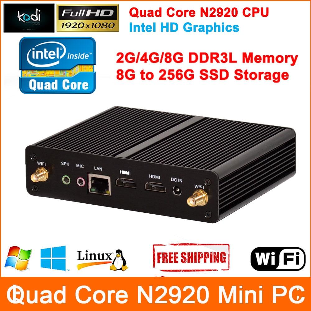 Prix pour Quad Core Mini PC Windows 7 Celeron N2920 Processeur Mini Ordinateur Full HD 1080 P sortie Barebone Mini-Ordinateur HDMI Computador