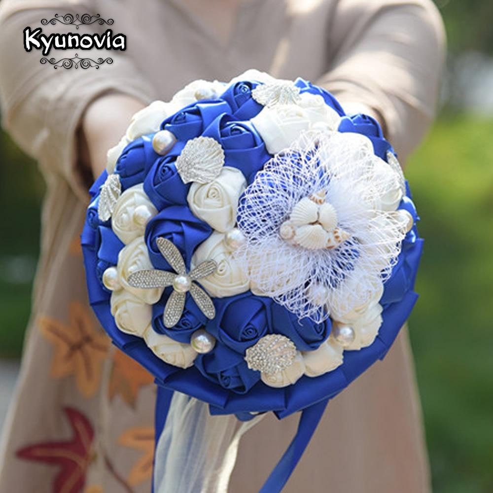 Kyunovia Coast Style Blue Bride Bouquet Pearl Conch Silk Roses